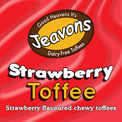 The taste of Strawberry in a creamy toffee.